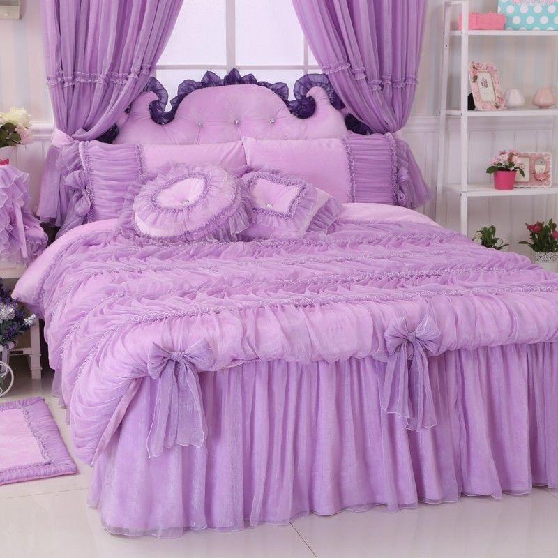 Korean Purple Flannel Bedding Set Princess Lace Ruffles Purple