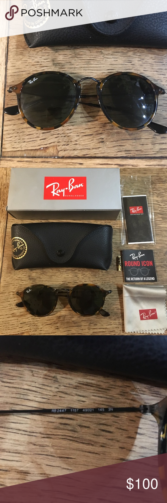Ray Ban round icon sunglasses Ray Ban round icon sunglasses RB2447 in tortoise shell. 49/21. Great condition. Includes case, cloth, box, and papers 100% authentic. Ray-Ban Accessories Sunglasses