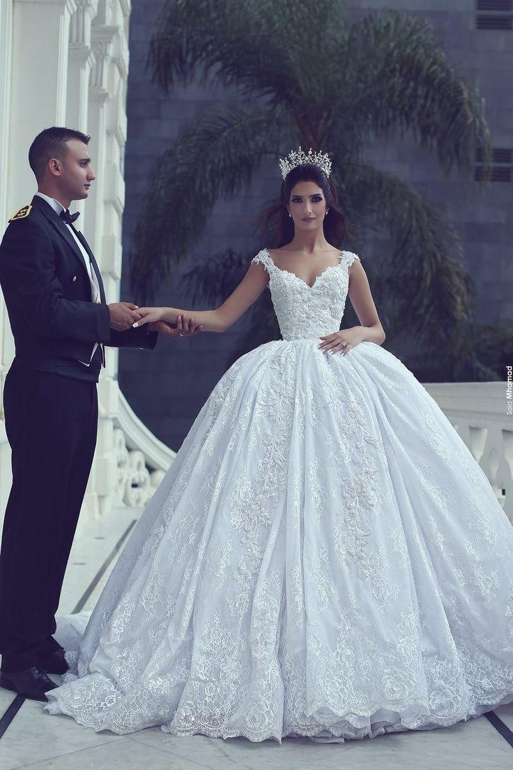 Buy discount Alluring Tulle V-neck Neckline Ball Gown Wedding ...
