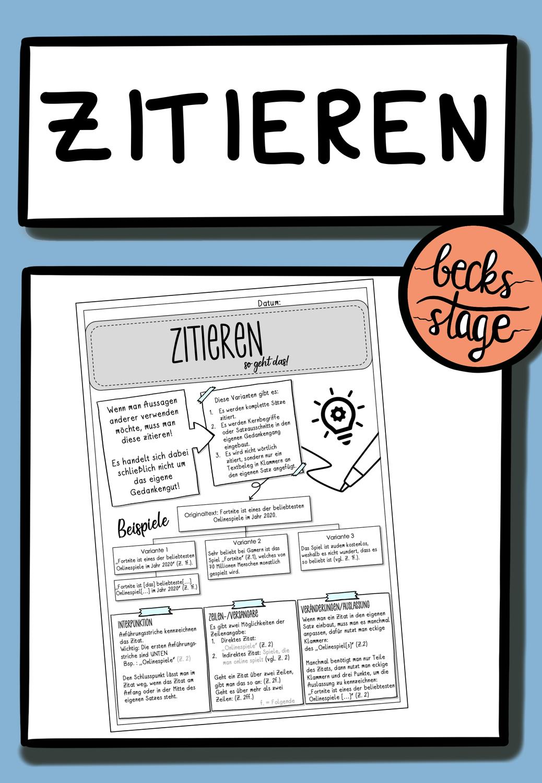 Zitieren So Geht Das Methodenblatt Unterrichtsmaterial Im Fach Deutsch In 2020 Zitieren Studium Inspiration Richtig Zitieren