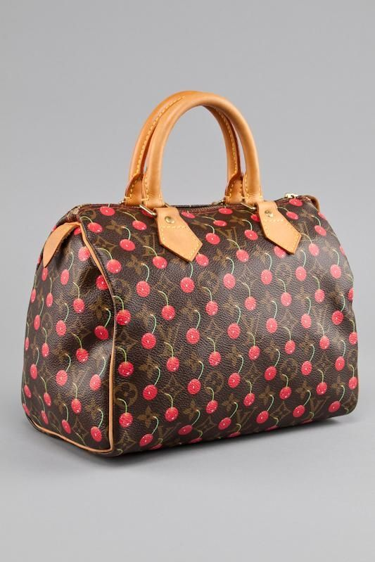 b0b13124e77d LOUIS VUITTON LIMITED EDITION CHERRY MONOGRAM CERISES SPEEDY 25 BAG ...