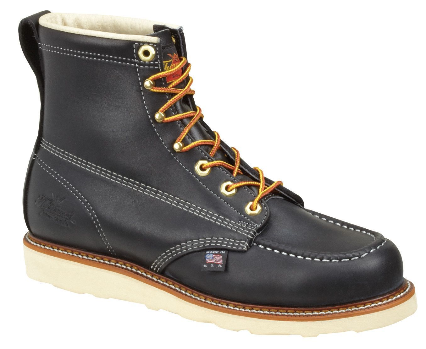 Thorogood Mens Black Leather Wedge Boots 6in Moc Safety Toe