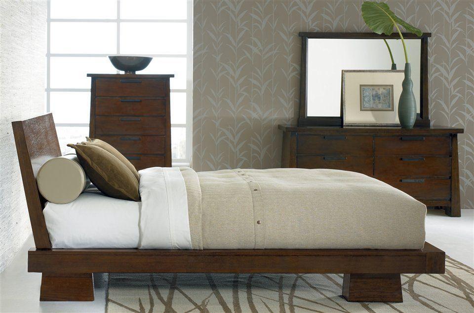 Sitcom Furniture  4 Pc Hida Platform Bedroom Set In Dark Oak Inspiration Exotic Bedroom Sets Review