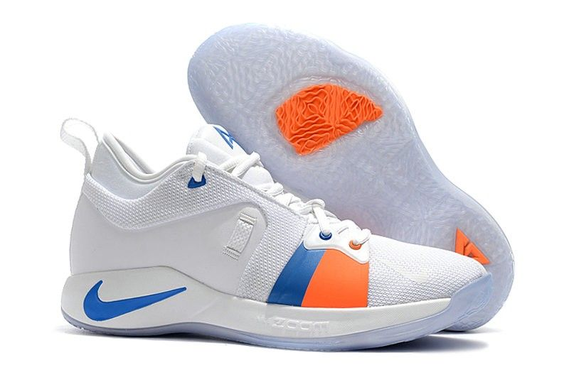 new arrival 641bf b39f9 2018 Nike PG 2 Paul George White Blue Orange
