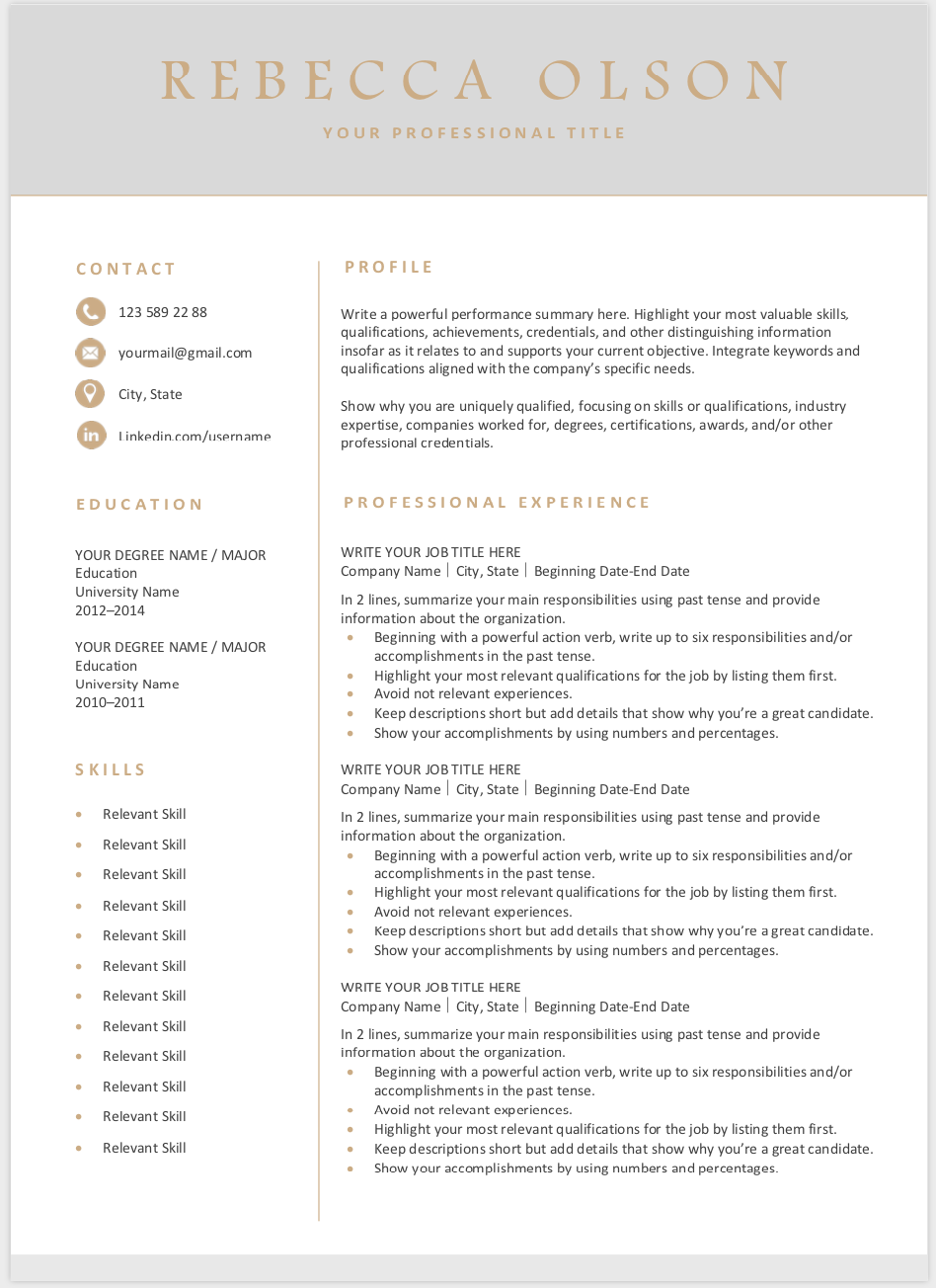 Modern Resume Template Free Download Modern resume