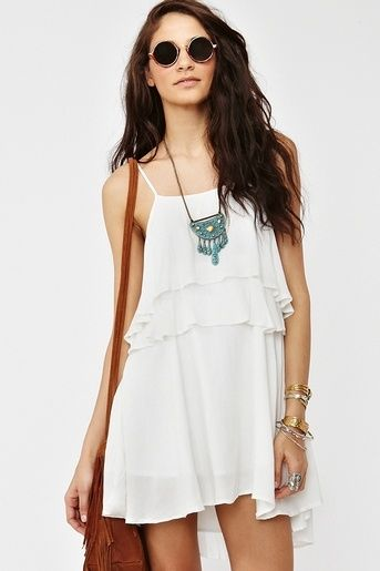 Casual white sundress 2014 with flowing layers and thin spaghetti ...