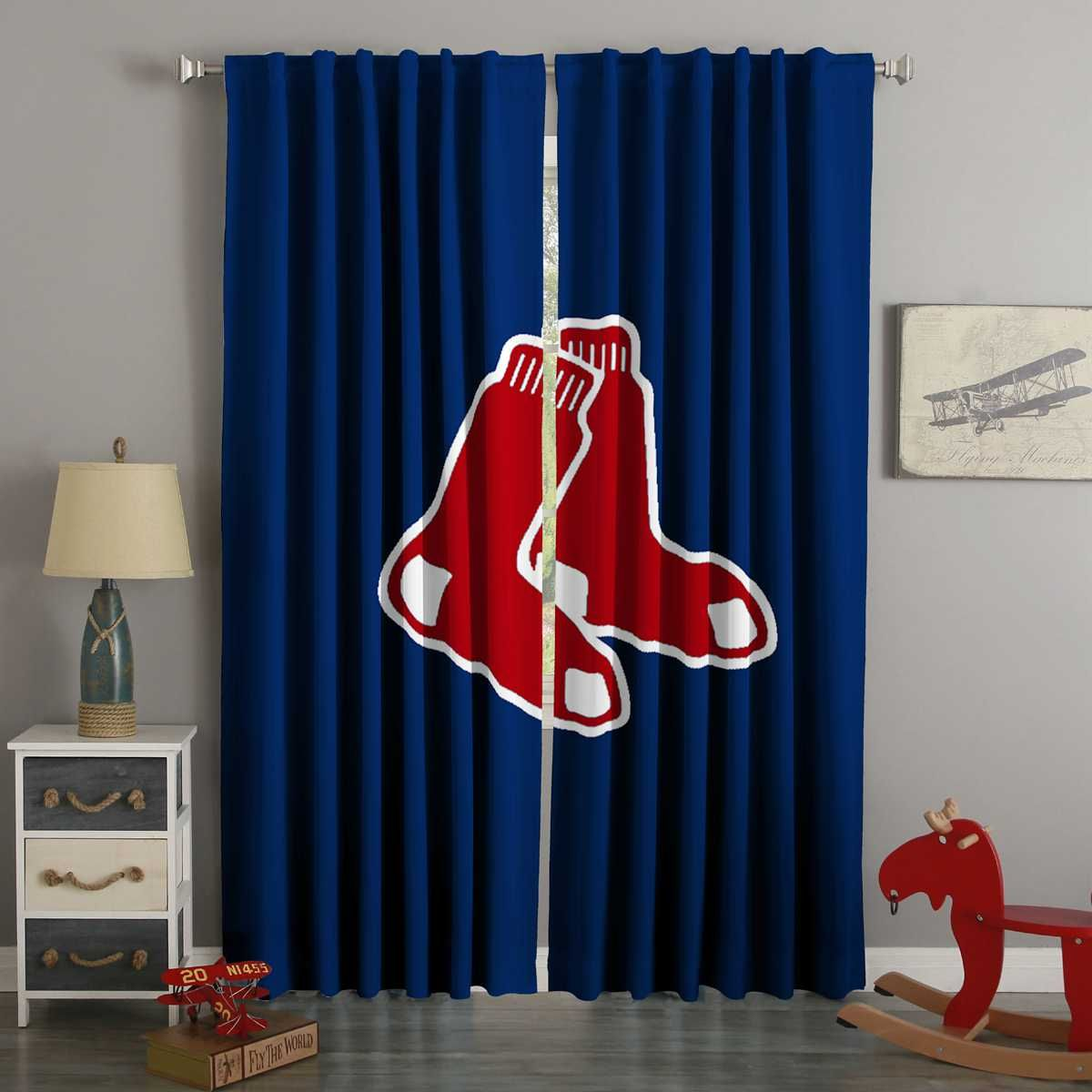 3d Printed Boston Red Sox Style Custom Living Room Curtains In