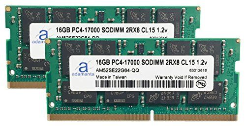 2x16GB Laptop Memory Upgrade Compatible for MSi GS70 6QE 010UK Stealth Pro DDR4 2133 PC4-17000 SODIMM 2Rx8 CL15 1.2v Notebook RAM Adamanta 32GB