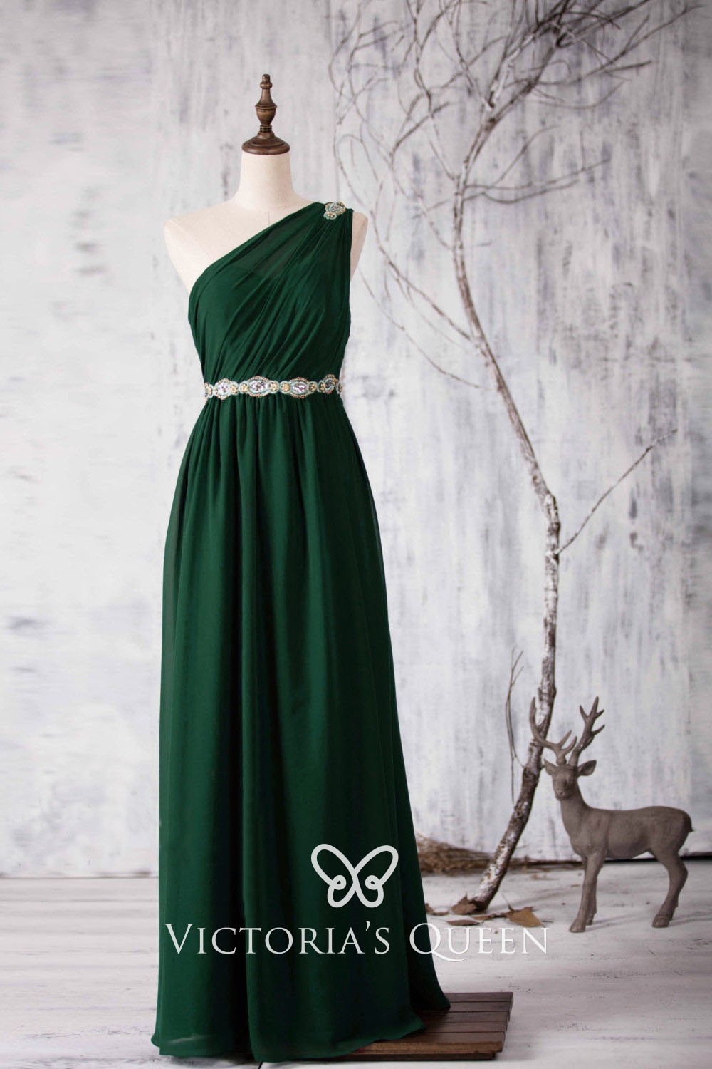 Forest Green Beaded One Shoulder Long Bridesmaid Dress Forest Green Bridesmaid Dresses Green Chiffon Dress Bridesmaid Dresses