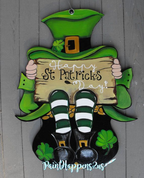 St Patricku0027s Day leprechaun Door Hanger Sign by PaintHappens2Us & St Patricku0027s Day leprechaun Door Hanger Sign by PaintHappens2Us | St ...