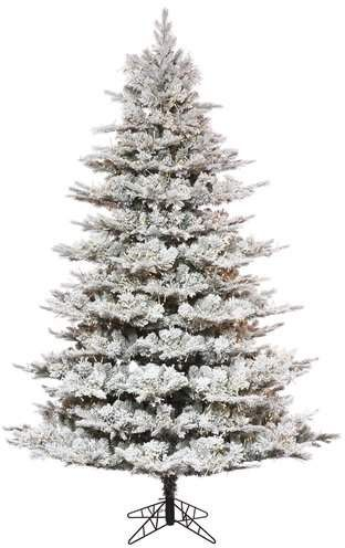 a9406a4c8e8d The Holiday Aisle Flocked 6.5' Artificial Christmas Tree with Warm White  LED Lights with Stand