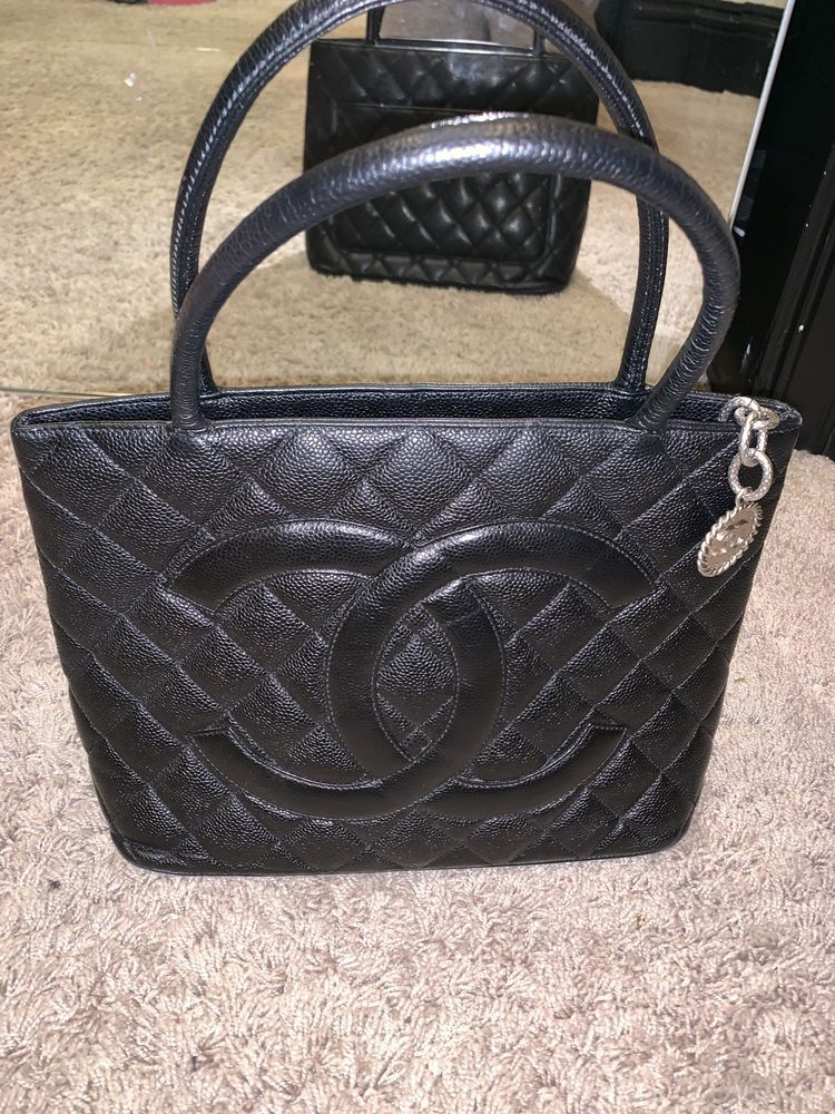 8abaf5851b3b CHANEL Black Quilted Caviar Leather Medallion Tote Bag Silver Hardware