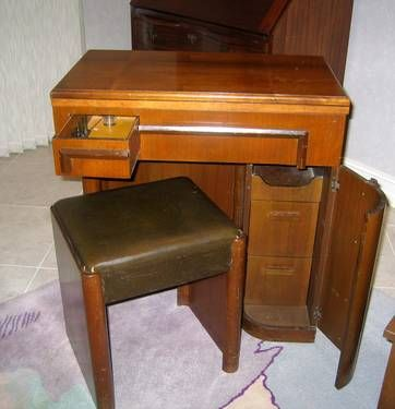 singer sewing machine cabinet art deco with storage stool just look at how something as