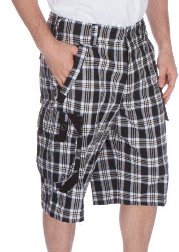 b5965788 Sakkas S9415 Men's Plaid Twill Trim Six Pocket Cargo Shorts - Black - 32W X  14L