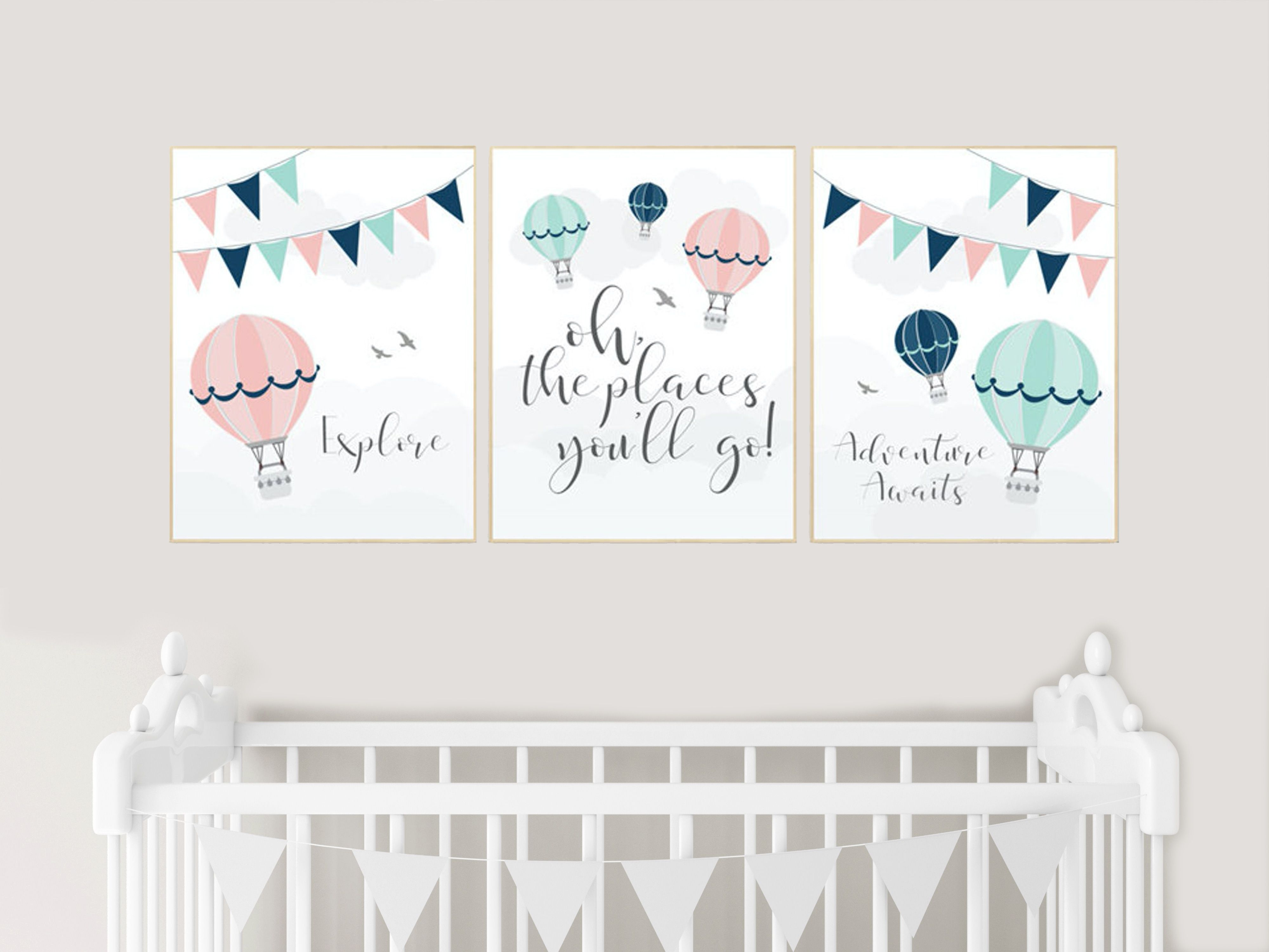 Blush, mint, navy, nursery wall art, hot air balloon