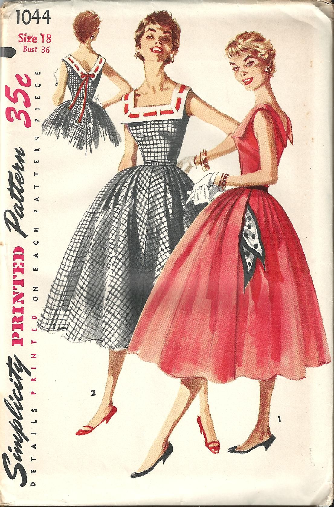 Vintage Sewing Pattern Dress Simplicity 1044 | Fashion decades ...