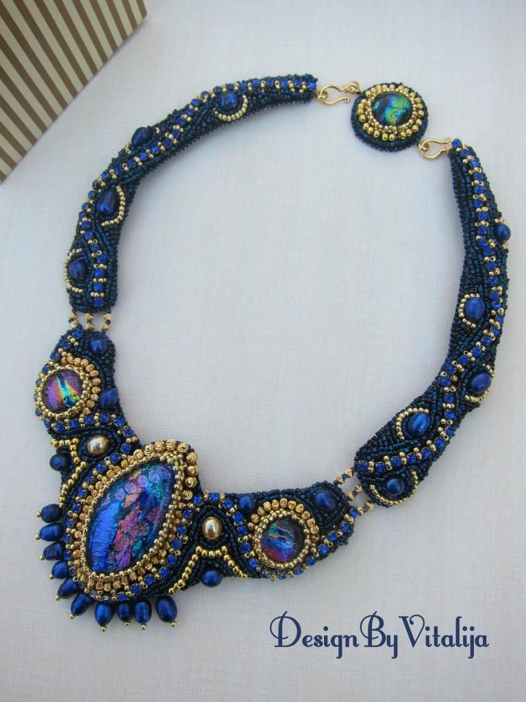 "Vitalyte (The USA) bead emroidery necklace ""Christmas Night"""