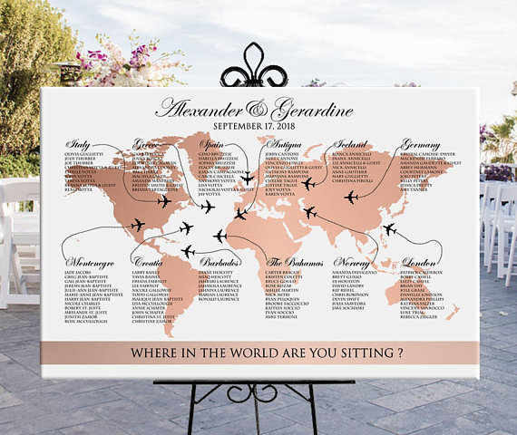 Photo of World map seating chart wedding printable rose gold, travel theme destination wedding or party rose gold seating chart, digital file