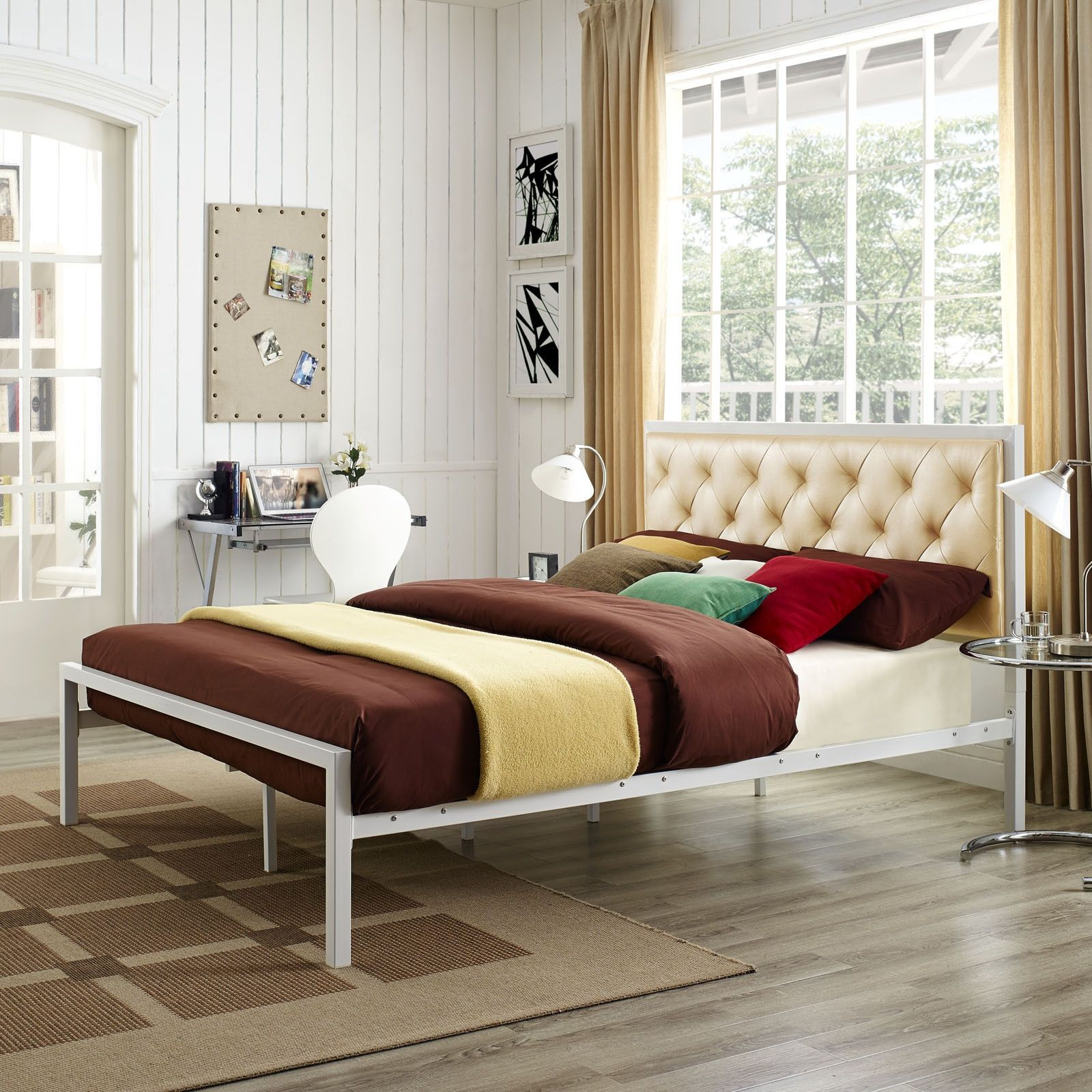 modway min gold vinyl platform bed frame with 10 inch queen size