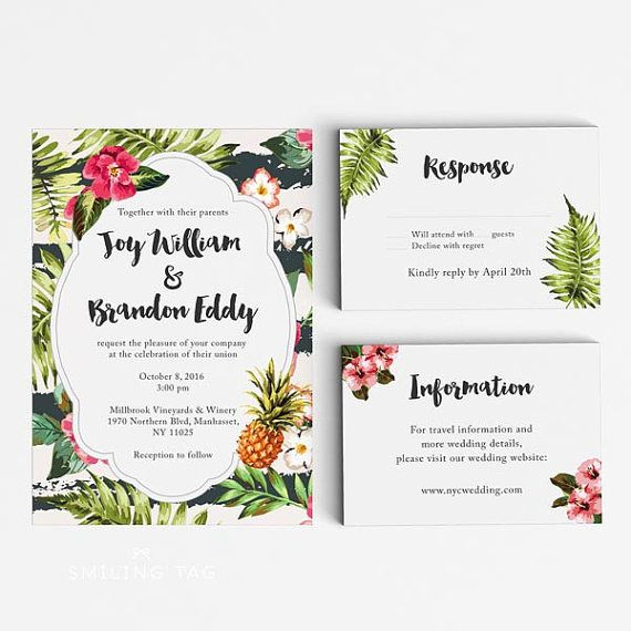 Tropical Wedding Invitation Suite, Wedding Invitation Printable