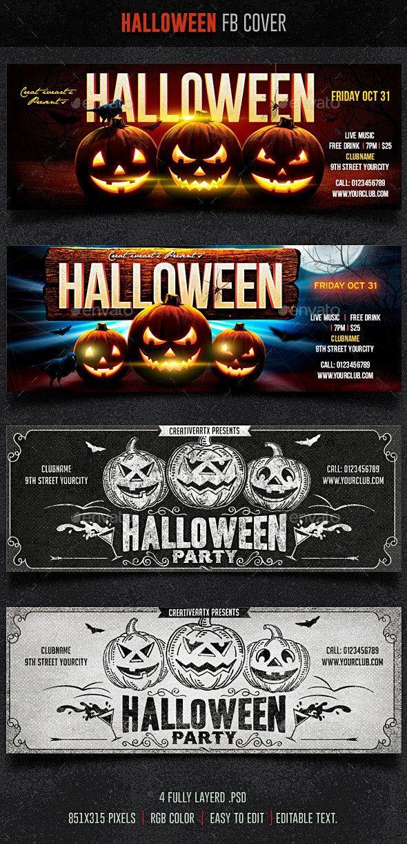Halloween FB Cover — PSD social media party