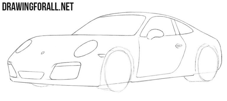 How To Draw A Porsche Easy Porsche Drawings Car Drawings