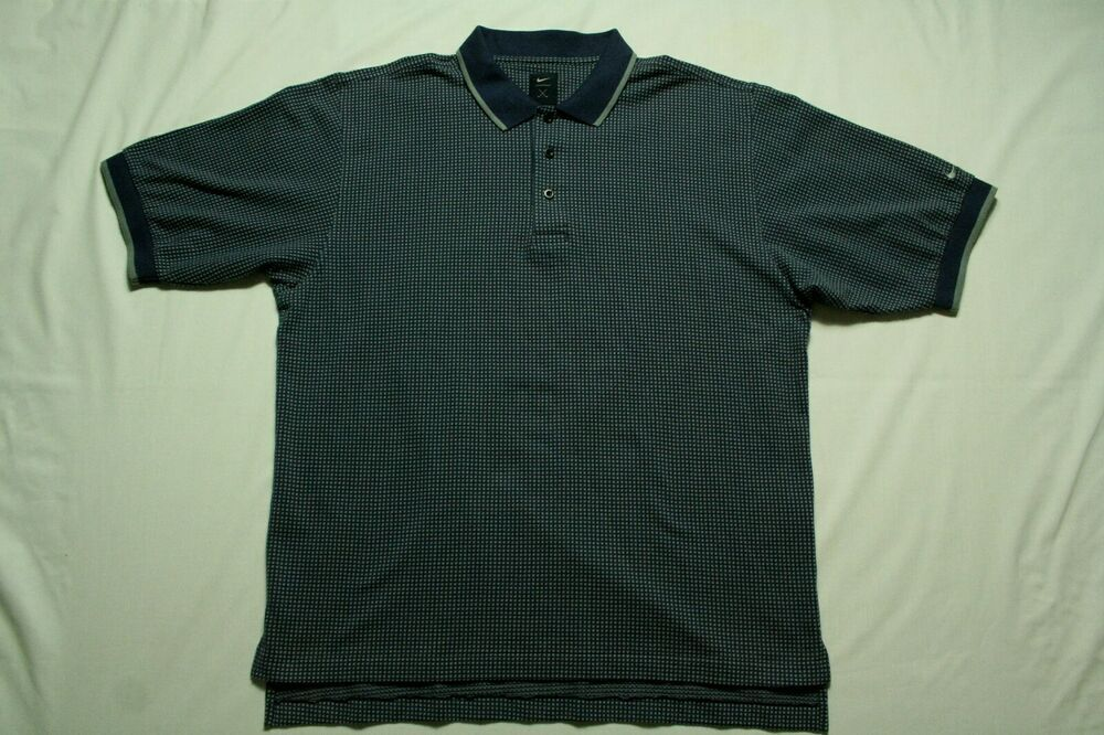 Mens Vintage Nike Golf Shirt Short Sleeve Polo Blue Gray Patterned Size L Nike Golf Polo Blue Golf Shirts Vintage Nike