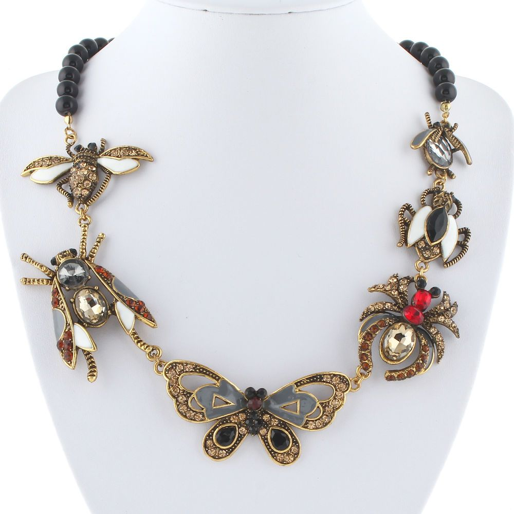 Vintage Crystal Rhinestone Butterfly Animal Long Pendant Necklace Sweater Chain
