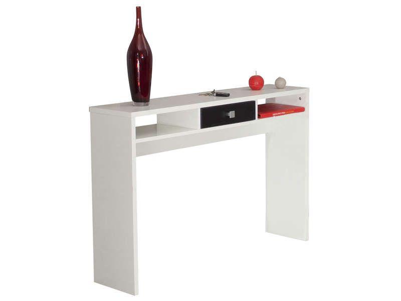 Console PURPLE coloris blanc / noir - Vente de Console et Guéridon - Conforama Tables De Cuisine