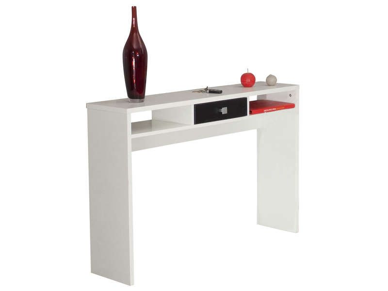 Console PURPLE coloris blanc / noir - Vente de Console et Guéridon - Conforama Meuble De Cuisine