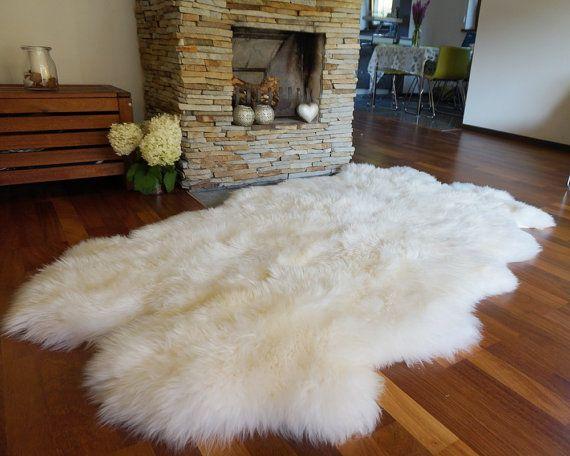 Giant Rug Four Sheepskin White Throw Genuine Leather Sheep Etsy Rug Decor Fur Rug Living Room White Rug