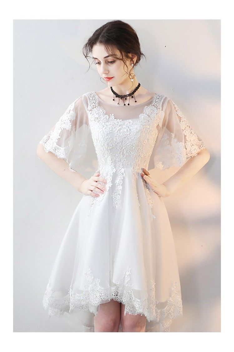 White Lace Short Party Dress High Low With Sleeves Party Dresses With Sleeves White Homecoming Dresses Tulle Homecoming Dress [ 1125 x 750 Pixel ]