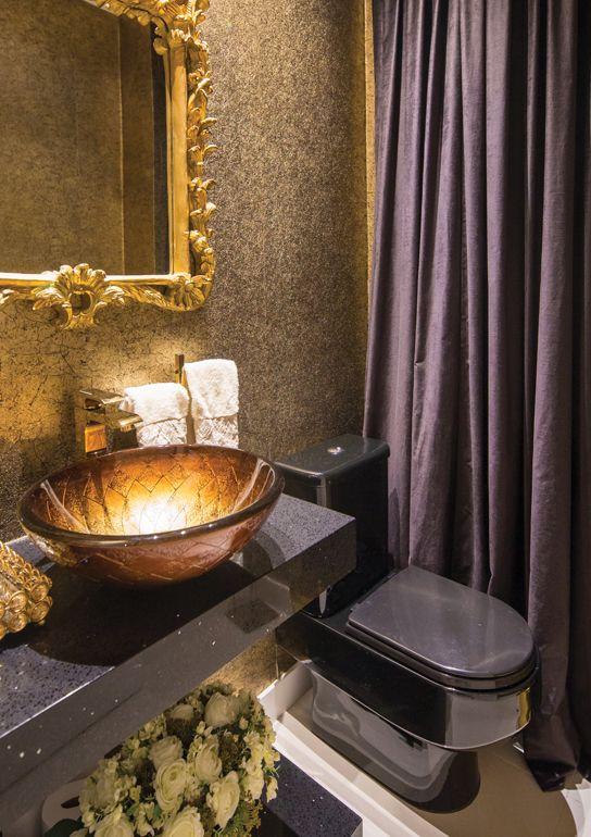 Banheiros Decorados Com Duas Cubas : Banheiros e lavabos decorados com cubas douradas