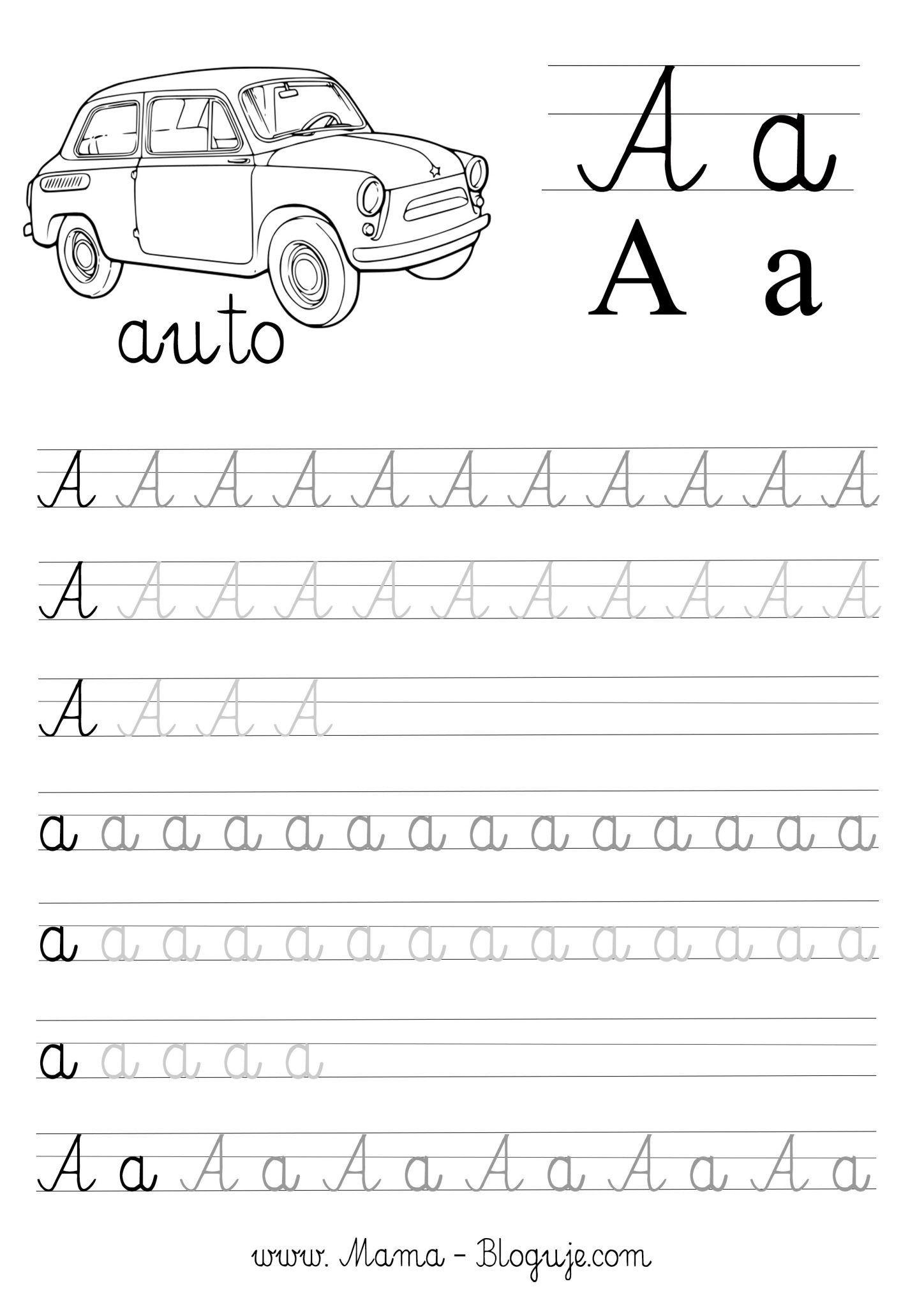 Nauka Pisania Literek Szablon Literka A Kids Handwriting Practice Kids Handwriting Kids Math Worksheets