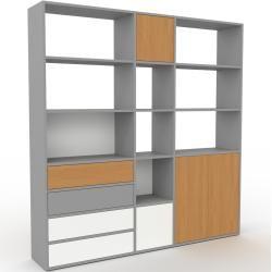 Photo of Regalsystem Grau – Regalsystem: Schubladen in Weiß & Türen in Eiche – Hochwertige Materialien – 190
