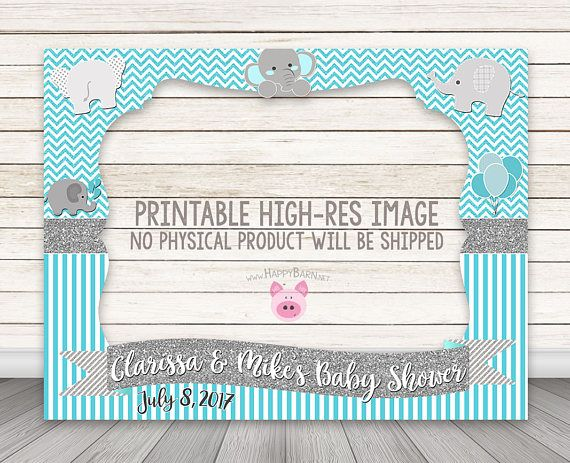 PRINTABLE Elephant photo booth frame, Baby Shower photo booth frame ...