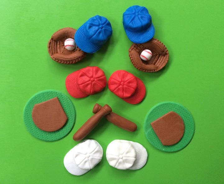 Baseball Cupcake Toppers 12pcs Edible Fondant Baseball