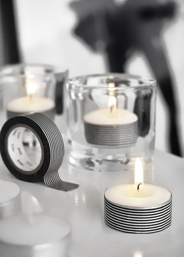 DIY mariage décorer des bougies chauffe-plat avec du masking tape