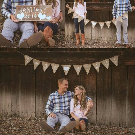Custom Name Baby Announcement Burlap Bunting Banner with Heart
