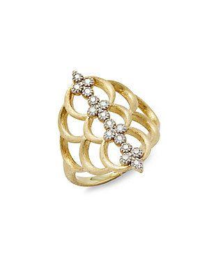 Jude Frances 18k Moroccan Open Diamond Quad Crescent Ring, Size 6.5