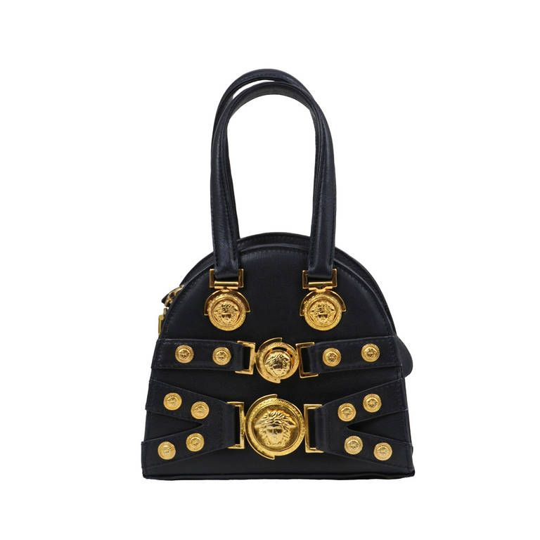 Gianni Versace Navy Mini Bowler From A Collection Of Rare Vintage Handbags And Purses At
