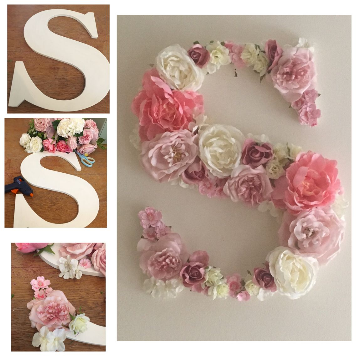 wooden s letter decorated with silk flowers wooden sign