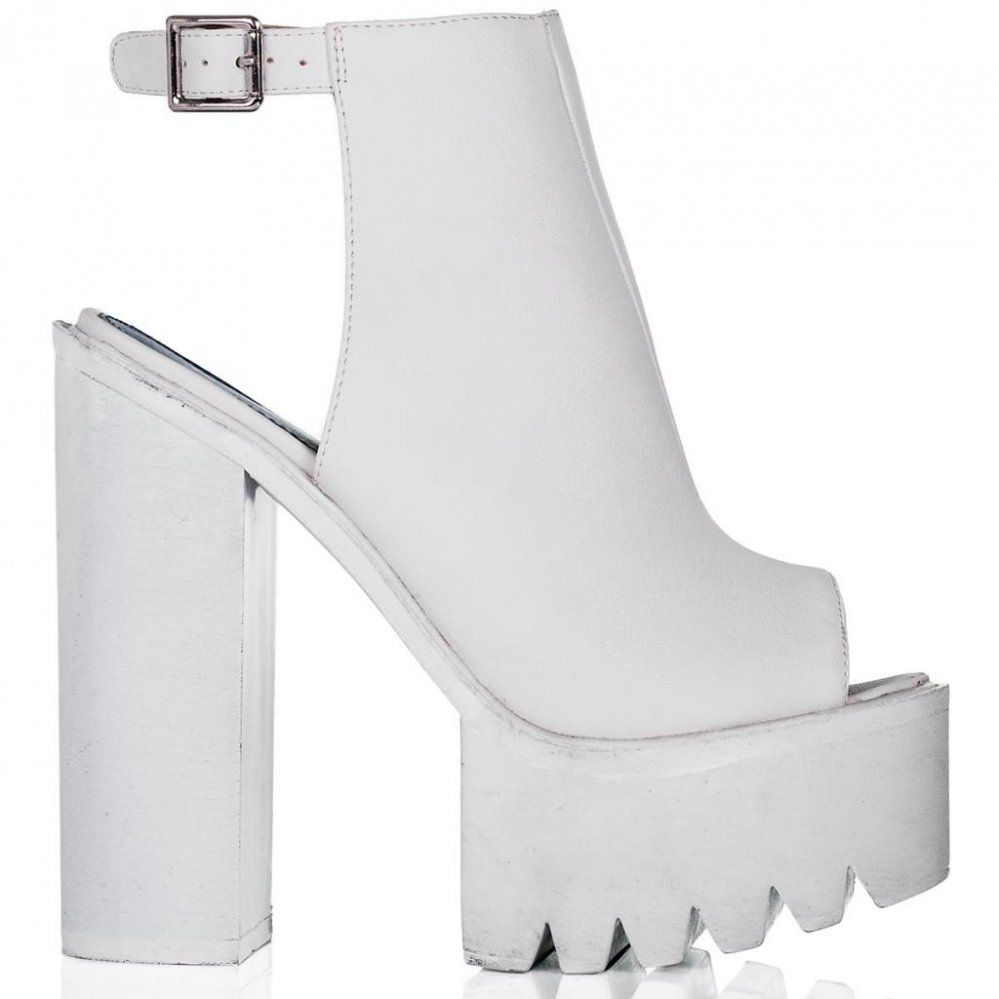THUNDER Block Heel Cleated Sole Mule Shoes - White Leather Style ...