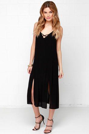 Chic Black Dress - Midi Dress - Sleeveless Dress - $42.00