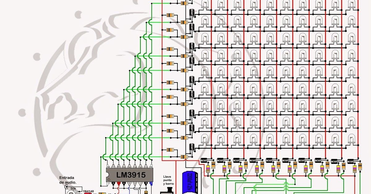audio spectrum analyzer circuit diagram dp switch wiring vumetro con efecto analizador de espectro fuente incorporada modo punto y barra
