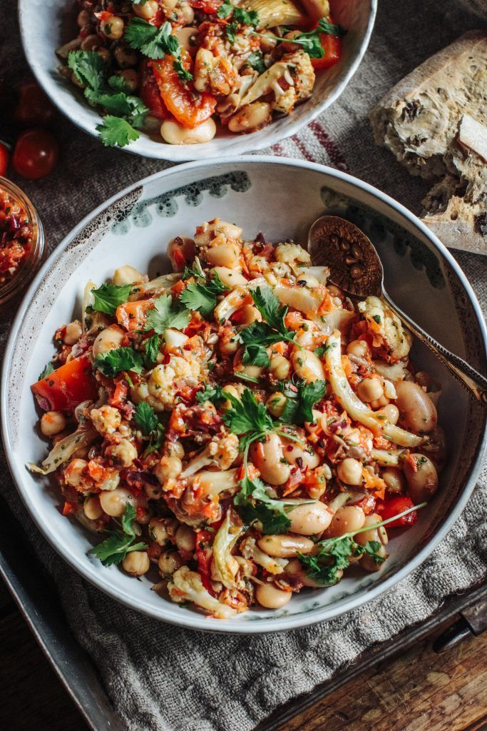 Roast cauliflower, fennel and white bean salad with roast tomato salsa - Rebel Recipes