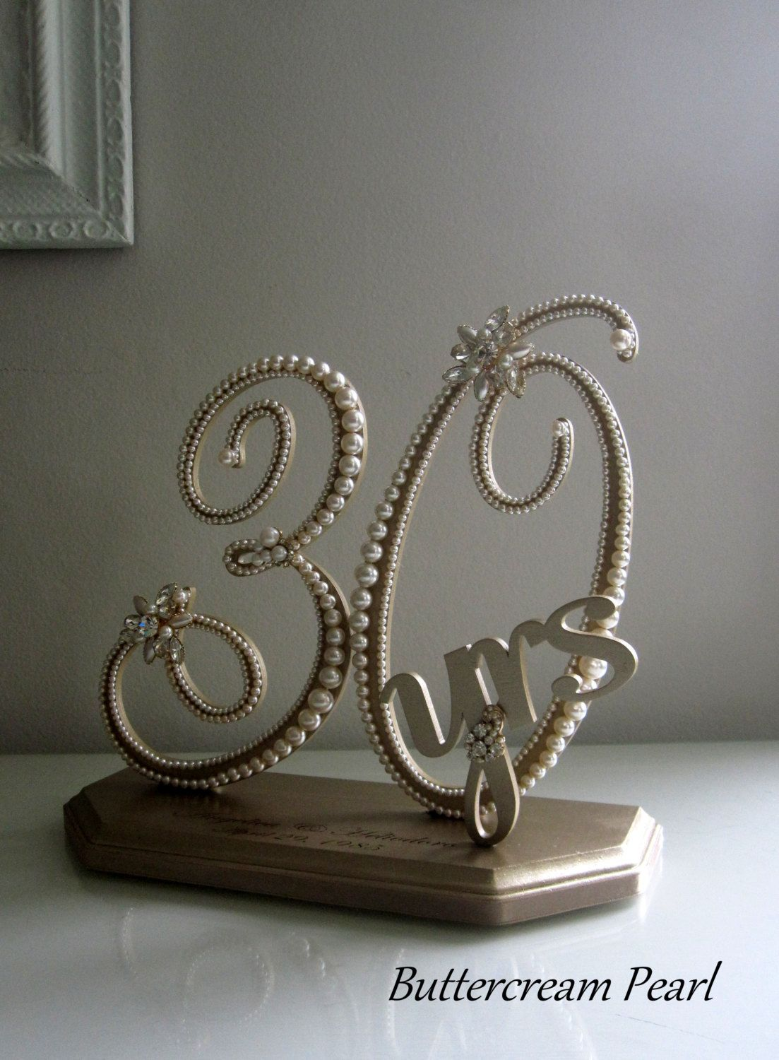 Wedding Anniversary Display 30th, 50th, Vintage Ivory Pearl, Gold ...