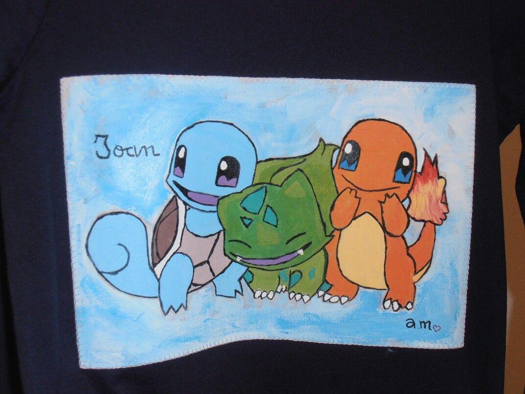 Camiseta Con Dibujo De Pokemons Pintado A Mano Para Joan El