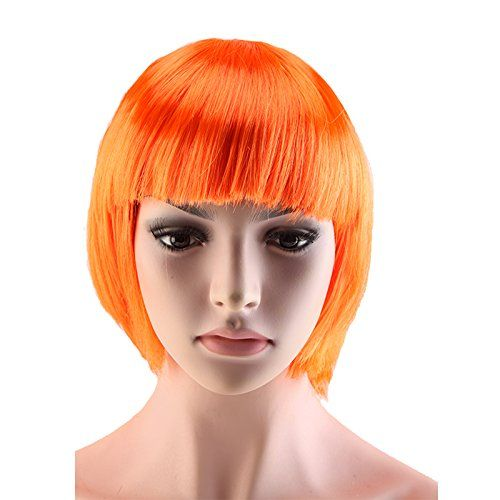 Ryvox(TM) Women Short Straight BOB Hairstyle Wig Cospaly Anime Party Dress Synthetic Full Bangs Wigs Orange >>> You can get additional details at the image link.
