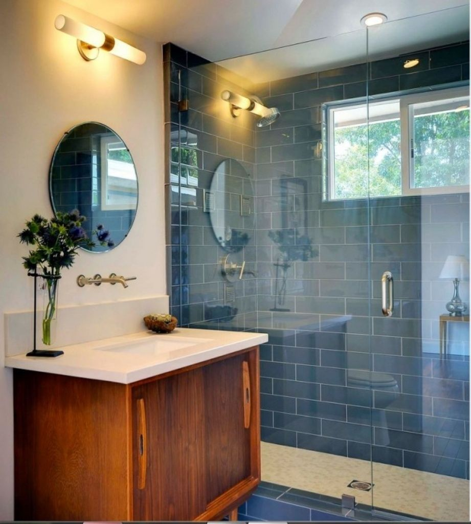 Blue Brick Wall Tiles With Round Mirror And Cute Vanity For